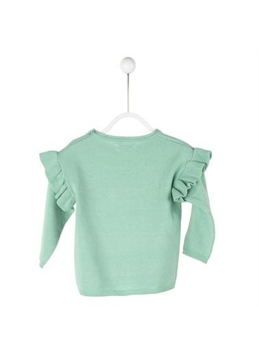 Silversun Kids Baskılı Fırfırlı Omuz Düğme Kapamalı Uzun Kol Bebek Kız Kazak T 114920 Yeşil